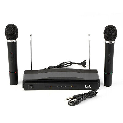Professional Bar Wireless Microphone Receiver System Dual Handheld Mics Set high