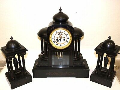 Antique 19th C. French Victorian Black Marble Slate Mantel Shelf Clock  Working