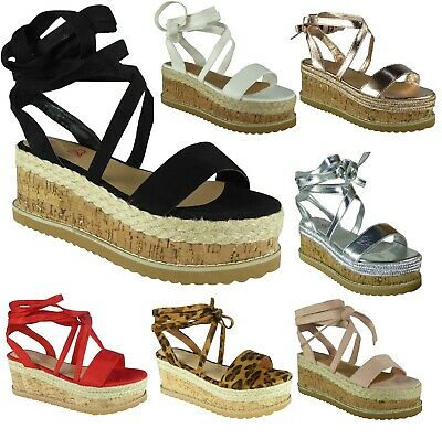 Ladies Womens Flat Wedge Lace Tie Up Espadrilles Platform Wedge Summer Sandals