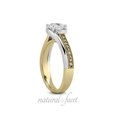 0.98ct tw F/SI2/Ideal Round AGI Certify Diamonds Two-Tone Gold Milgrain Ring 7gm