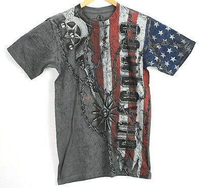 07079fba Cowboy Up Mens Small Graphic Tee T Shirt Barbwire American Flag Boot Spurs