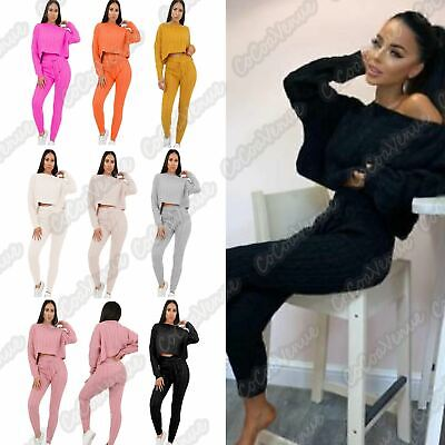 Ladies Cable Knitted Cropped Baggy Top Bottoms Co-Ord Loungewear 2 Pcs Tracksuit