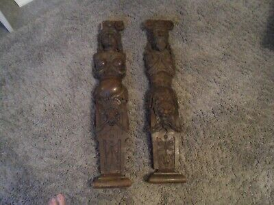 17th 18th century pair of wooden fireside carvings,RAREST ON EBAY
