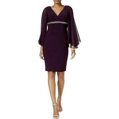 9da04597c7b Jessica Howard Womens Purple Embellished Surpllice Capelet Dress 14 BHFO  0927