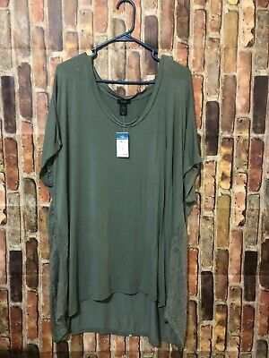 80035bb945c NEW Rue21 2X Women s Plus Size Solid Moss Green Lace Top Blouse High Low NWT