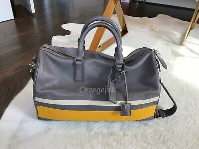 a620a5392a88 Coach Mens Gray Leather Duffle Bag With Yellow And White Stripe Design! Rare