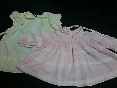 Vintage 1940s 1950s baby girl newborn dress 2 lot wedding party reborn doll