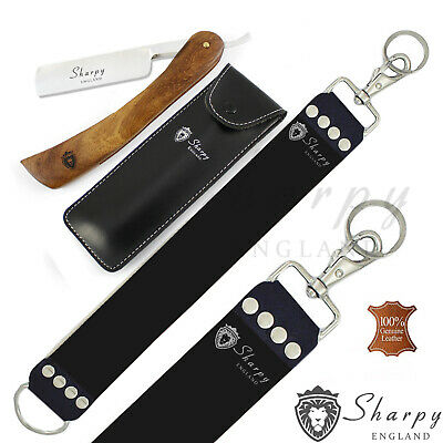 Wooden Barber Classic Straight Razors Cut Throat Wet Shaving + Leather Strop