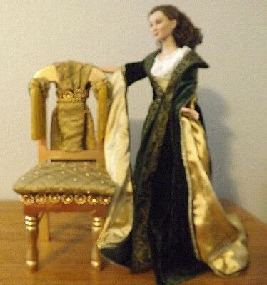 SCARLETT DRESSING GOWN TONNER GWTW WIND DOLL LE300 with Embellished Chair