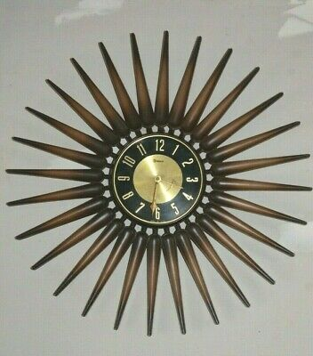 "SYROCO Art Deco Wall Clock Starburst Sunburst 23"" MADE IN USA Vtg Mid Century"