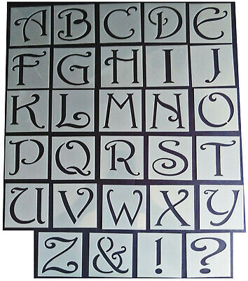 Shabby Chic vintage style Alphabet letter stencil 65mm/54mm Upper case xlarge