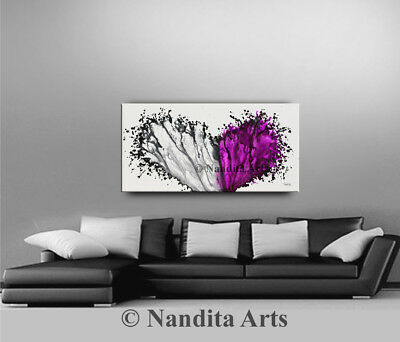 Purple Wall Art Painting, splash painting artwork on canvas by Nandita Albright