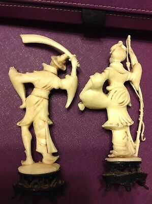 Vintage Resin Ivory Color Asian Armed Samurai And Asian Fishing Woman