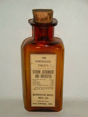 Nice Old Burrough Morphine Pharmaceutical Controlled Substance Medicine Bottle