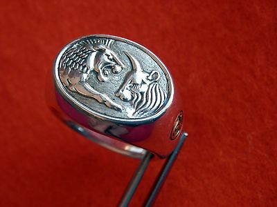 David Yurman Sterling Silver 22K Gold LION AND OX Men's Ring Size 11