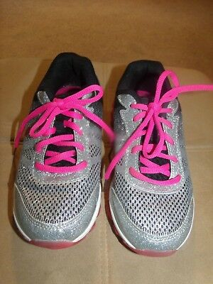 b047f386de7a9 Youth Girls Size 3 Sliver Glitter Black pink Lace Up Memory Foam Tennis  Shoes