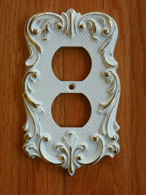Vintage National 1970's Duplex Outlet Recptacle Plate Cover White & Gold