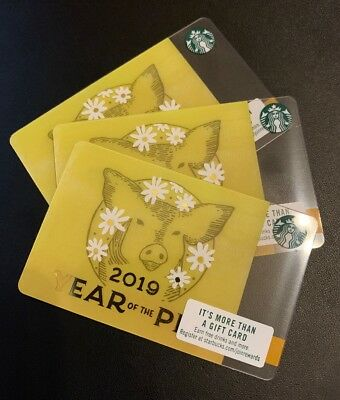Rare Starbucks Gift Card - 2019 Year Of The Pig - 3 Pack - #6162 HTF!