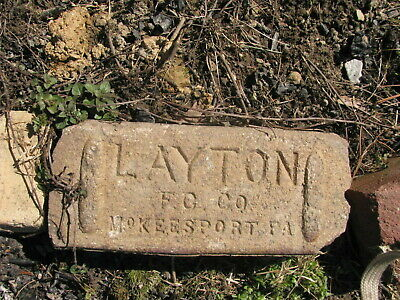 OLD VTG antique Brick reclaimed Stamped Layton CO McKEESPORT PA  VTG6791