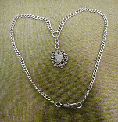 #D366.  Sterling Silver Fob Chain & Engraved 1911 Fob