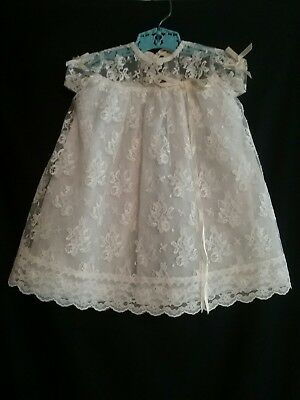 Vintage 1950s baby shower Christening gown doll dress baptizing lace sheer