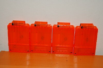 Lot of 4 NERF N-Strike 6-Dart Extra Ammo Clips Magazines Orange Clear/ See thur