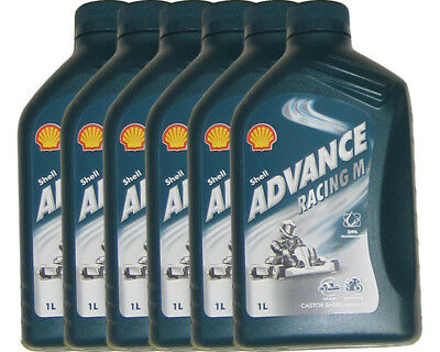 Shell Advance Racing M 2 Tempi Olio 1L x 6 Rotax Max Iame X30 Tkm UK Kart Store