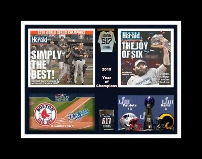 New England Patriots @red Sox 2018 Champ Matted Collage Pic Showing Newspapers *