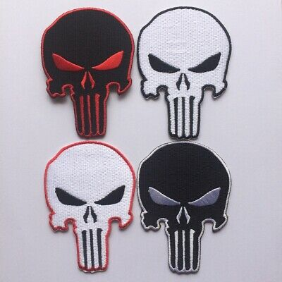 Punisher Skull Embroidered Black White Applique Iron Sew on Patch Jacket Cap Bag