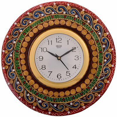 "Wooden Wall Clock Antique Handmade Rajasthani Analog Clock 11"" Home Office Clock"