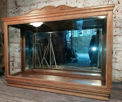 Large Antique Victorian Wooden Shop Counter Display Cabinet Haberdashery Mirror