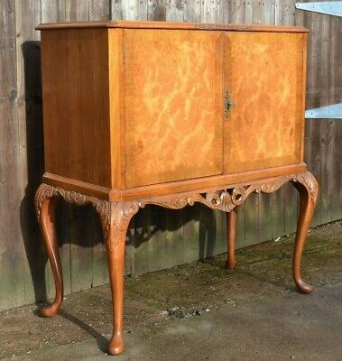 Vintage Burr Walnut Cocktail Cabinet Queen Anne Style Drinks Bar Fitted Interior