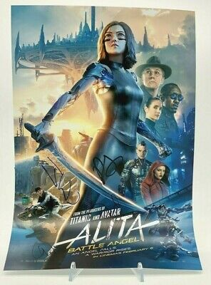 ALITA BATTLE ANGEL Signed 18x12 CAST SIGNED AFTAL OnlineCOA