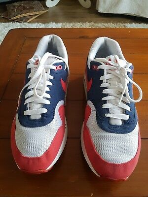 pretty nice 07023 bbff7 Nike Air Max 1 Midnight Navy Action Red Neptune Blue Trainers - Size UK 9