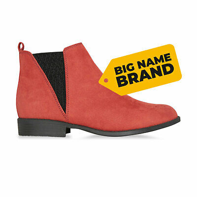 Ladies Womens Chelsea Dealer Boots Suede Ankle Slip On Low Heel Shoes Size 3-8