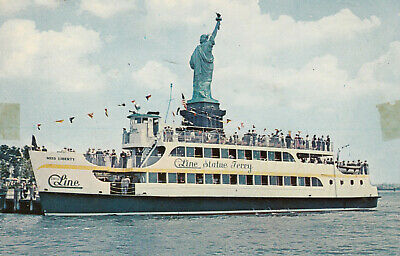 """NEW YORK CITY, """"MISS LIBERTY"""" Tour Boat at Statue of Liberty , 50-60s"""