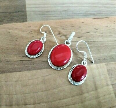 Coral Gemstone Handmade Ethnic 925 Sterling Silver Jewelry Set 302183734 Other Fine Jewelry Sets