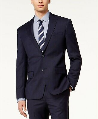 $645 Dkny 42r Mens Modern-Fit Blue Wool 2-Button Blazer Sport Coat Suit Jacket