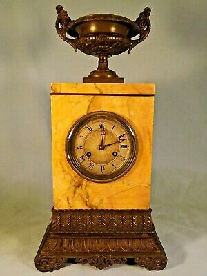 19c French Empire Sienna Marble & Bronze Clock c1820.