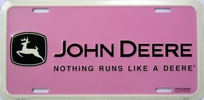 Novelty Vanity Metal Embosed License Plate Nothing Runs like a John Deere  Pink 6e5d5335cd1