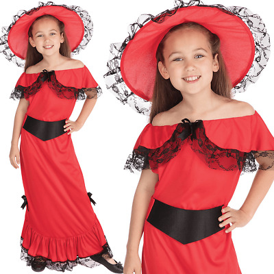 Child Scarlet O Hara Costume Victorian Book Week Day Girls Fancy Dress Outfit