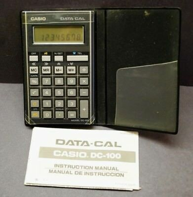 Vintage Casio Data Cal DC 100 Pocket Calculator in Case w/ Instructions Japan