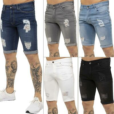 Enzo Jeans Mens Denim Shorts Skinny Fit Distressed Ripped Half Pants Waist Sizes