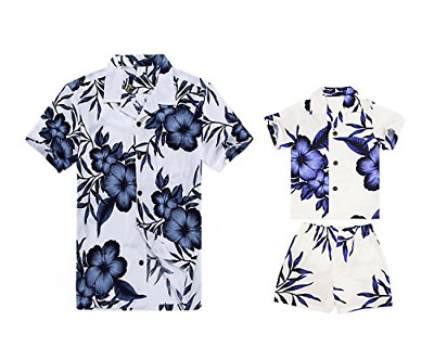 3f42db7d Matching Father Son Hawaiian Luau Outfit Men Shirt Boy Shirt Shorts White  with