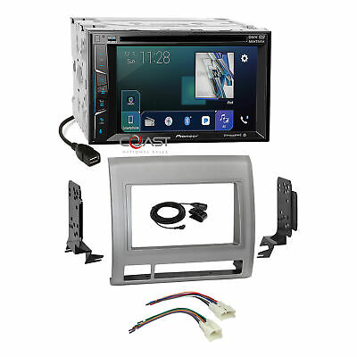 Pioneer 2018 BT Sirius Stereo 2 Din Gray Dash Kit Harness for 05+ Toyota Tacoma