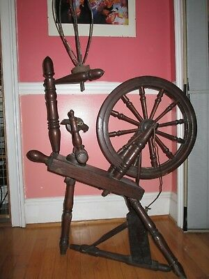 Antique OLD spinning wheel wood