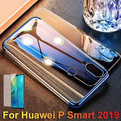 For Huawei P Smart 2019 Plating Transpartent TPU Case Cover + Tempered Glass