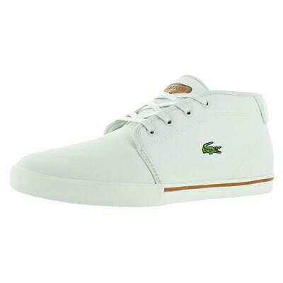 bace96570 Lacoste Men s Ampthill Leather Chukka Fashion Sneakers Shoes White Size 13