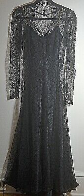 VINTAGE 1930s 1940s DRESS GOWN in BLACK LACE UU235
