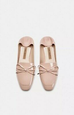 46f14edfdc89f New ZARA Patent PINK Leather Slingback Flat Size 8 Mules Sandals Shoes